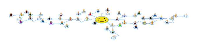 Cartoon Crowd, Smiley Link Royalty Free Stock Image
