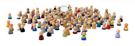 Cartoon Crowd, Speech Bubble Royalty Free Stock Image
