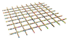 Cartoon Crowd, Square Grid Shape. Crowd of small symbolic 3d figures, over white, isolated Royalty Free Stock Image