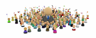 Cartoon Crowd, Standing Out. Crowd of small symbolic 3d figures, over white, isolated Stock Photo