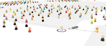 Cartoon Crowd, Standing Out. Crowd of small symbolic 3d figures, over white, isolated Royalty Free Stock Photos