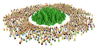 Cartoon Crowd, Surrounded Forest. Large crowd of small symbolic 3d figures, with fir forest, over white Stock Images