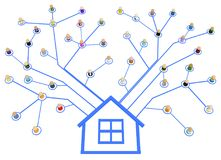 Cartoon Crowd, System Home. Crowd of small symbolic 3d figures linked by lines home, over white, isolated, horizontal Royalty Free Stock Image