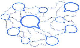 Cartoon Crowd System, Speech Bubbles. Crowd of small symbolic 3d figures linked by lines, speech bubbles connected, over white, horizontal Royalty Free Stock Photography