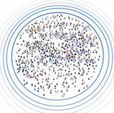 Cartoon Crowd, System Users Ripple Ring. Crowd of small symbolic 3d figures circled system users ring ripple, over white, horizontal, isolated vector illustration