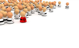 Cartoon Crowd, Target. Crowd of small symbolic 3d figures, isolated Royalty Free Stock Photos