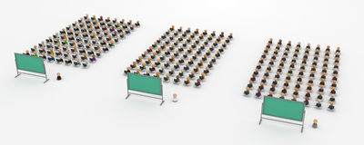 Cartoon Crowd, Teaching Computer Classes. Crowd of small symbolic 3d computer user figures in front of a blackboard, isolated Royalty Free Stock Image