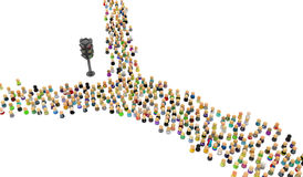 Cartoon Crowd, Traffic Light Split. Large crowd of small symbolic 3d figures, with traffic light, over white Royalty Free Stock Photos
