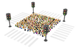 Cartoon Crowd, Traffic Light Square Royalty Free Stock Photo