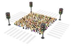 Cartoon Crowd, Traffic Light Square Royalty Free Stock Photo