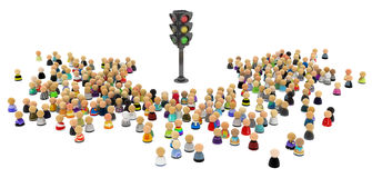 Cartoon Crowd, Traffic Lights. Large crowd of small symbolic 3d figures, with traffic light, over white Stock Photography