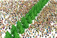 Cartoon Crowd, Tree Divide Royalty Free Stock Images