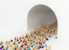 Cartoon Crowd, Tunnel Arch. Crowd of small symbolic figures, tunnel arch exiting, 3d illustration, horizontal, over white Stock Photo