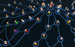 Cartoon Crowd, User Network Hill. Crowd of small symbolic 3d figures linked by lines, isolated Royalty Free Stock Images