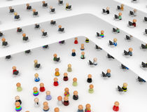Cartoon Crowd, Visitors. Crowd of small symbolic 3d figures, isolated Royalty Free Stock Images