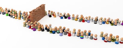 Cartoon Crowd, Wall Obstacle. Crowd of small symbolic 3d figures flowing around a wall obstacle, isolated Royalty Free Stock Photos