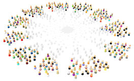 Cartoon Crowd, White Splash. Crowd of small symbolic 3d figures, colorize from white, isolated Stock Photos