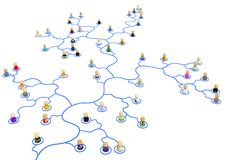 Cartoon Crowd, Wiggly System. Crowd of small symbolic 3d figures linked by wiggly lines, over white, isolated, horizontal Stock Images