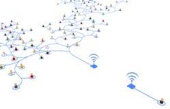 Cartoon Crowd, Wireless Connection Stock Photos