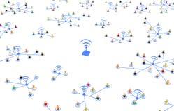 Cartoon Crowd, Wireless Link Groups Stock Photo