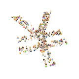 Cartoon Crowd, Yen. Crowd of small symbolic 3d figures, isolated Stock Photo