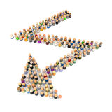 Cartoon Crowd, Zigzag Arrow. Crowd of small symbolic 3d figures, isolated Stock Photography