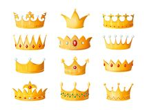 Free Cartoon Crown. Golden Emperor Prince Queen Royal Crowns Diamond Coronation Gold Antique Tiara Crowning Imperial Corona Royalty Free Stock Images - 144800289