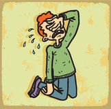 Cartoon cry illustration  , vector icon. Royalty Free Stock Images