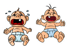 Cartoon crying babies with open mouths. Cartoon crying babies with wide open mouths and tear drops around one of them, for childish theme concept royalty free illustration
