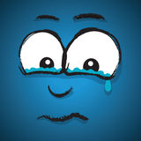 Cartoon crying face Stock Images