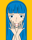 Cartoon crying face vector illustration