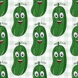 Cartoon Cucumber Seamless Pattern Stock Photo