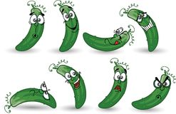 Cartoon cucumbers,vector Stock Images