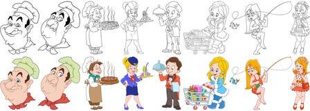 Cartoon culinary professions set Stock Image