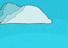 Cartoon Cumulonimubus Clouds on Halftone Royalty Free Stock Photo