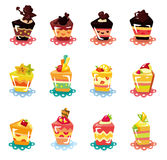 Cartoon cup cake icon set Royalty Free Stock Images