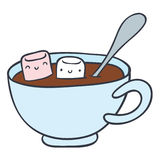Cartoon cup of chocolate and marshmallows stock illustration