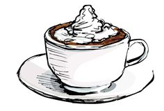 Cartoon of cup of coffee with cream Royalty Free Stock Image