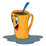 Cartoon cup. Mug with surprised facial expression Stock Photography