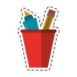 Cartoon cup pencil school utensil Stock Photos