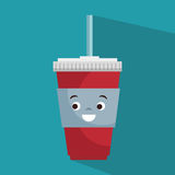Cartoon cup plastic soda with straw Stock Photos