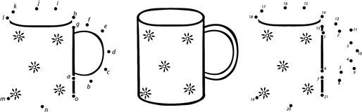 Cartoon cup. Vector illustration. Coloring and dot to dot game  Royalty Free Stock Photos