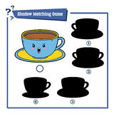 Cartoon cup. Vector illustration of educational shadow matching game with cartoon cup  for children Royalty Free Stock Photos