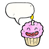 cartoon cupcake, with candle Royalty Free Stock Photo