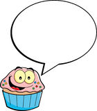 Cartoon cupcake with a caption balloon Royalty Free Stock Photography