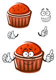 Cartoon cupcake character with happy face Royalty Free Stock Image