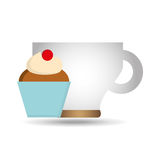 cartoon cupcake cherry sweet with cup coffee icon graphic Royalty Free Stock Photography