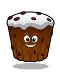 Cartoon cupcake. Funny smiling cartoon cupcake for holiday food design Stock Image