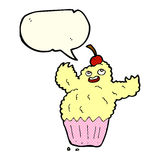 Cartoon cupcake monster with speech bubble Royalty Free Stock Image