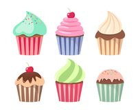 Cartoon cupcake set. Colorful cupcakes cartoons. Cupcakes cartoons with frosting, cream and chocolate topping Stock Image